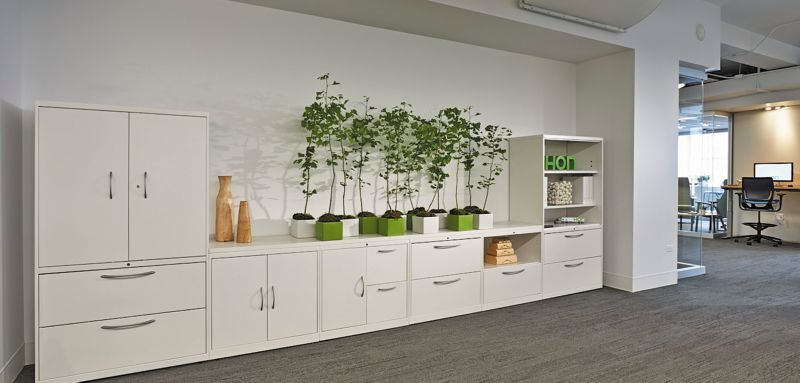 Storage Cabinets and Lateral Files in the HON Chicago Showroom