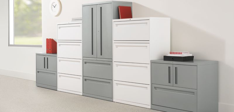 Different sizes of Flagship Lateral Files Cabinets along a wall