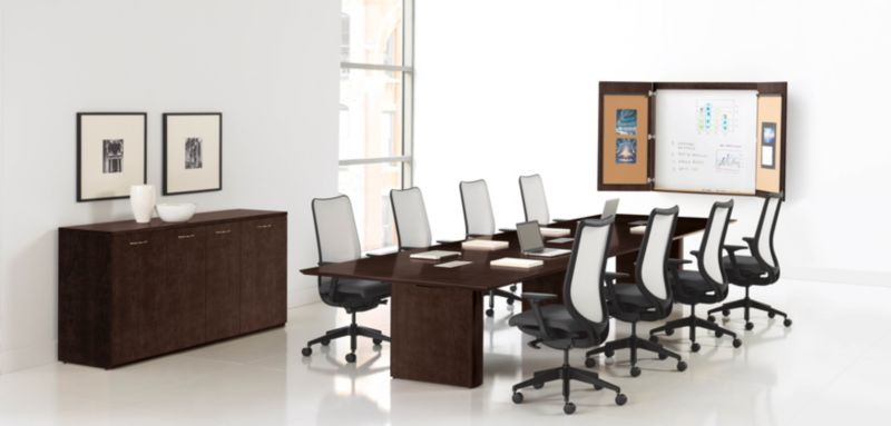 HON Preside Conference Table in Mocha with 8 Conference Room Chairs