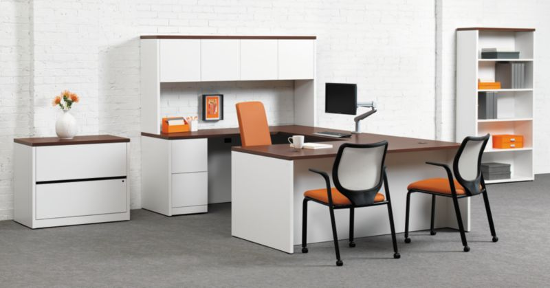 10500 Desk with Nucleus Office Chairs and Monitor Arm