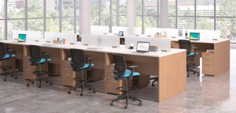 10500 Series Desks with Quotient Chairs Teaming Stations