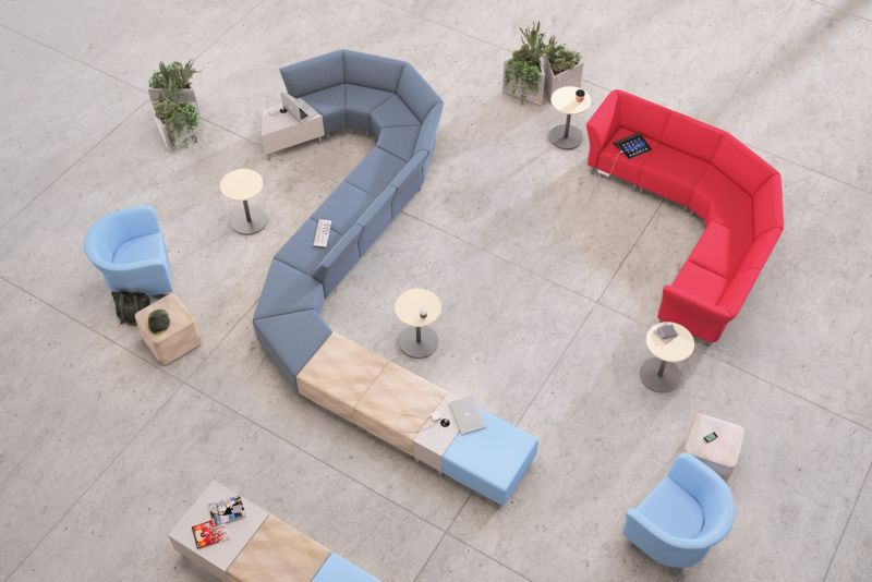 Room scene with furniture - Flock Modular Chair, Round Lounge, Mini Cube, Square Ottoman, Cube and Personal Table