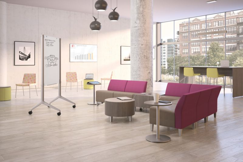 Room scene with furniture - Flock Dual Fabric Modular Chair and Lounge, Stool, Personal, Cube, Cylinder, Round Mini and Preside Harvest Tables, Motivate Mobile White Board