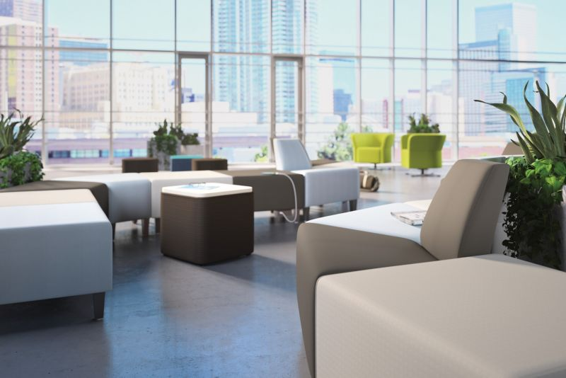 Room scene with furniture - Flock Modular and Round Lounge Chair, Square Ottoman,  Mini Cube and Cylinder Seating