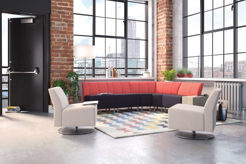 Room scene with furniture - Flock Modular Chair With Round Base and Dual Fabric, Floor Lamp and Shade