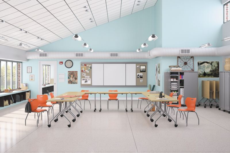 Smartlink Chairs in a classroom with Between Tables