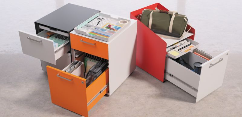 Fuse Pedestals with open drawers