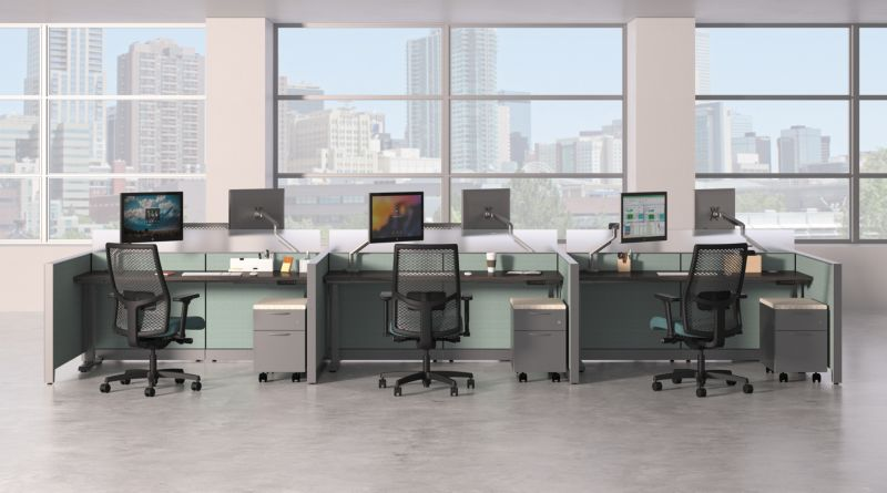 Abound Office Panels in Benching solution with Ignition Chairs