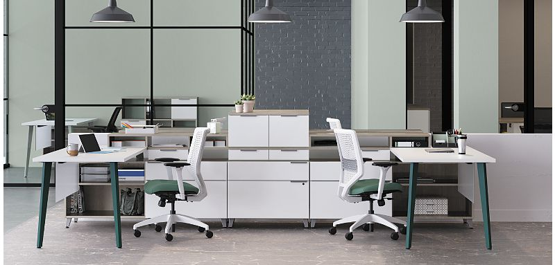 Voi office desks with Solve office chairs