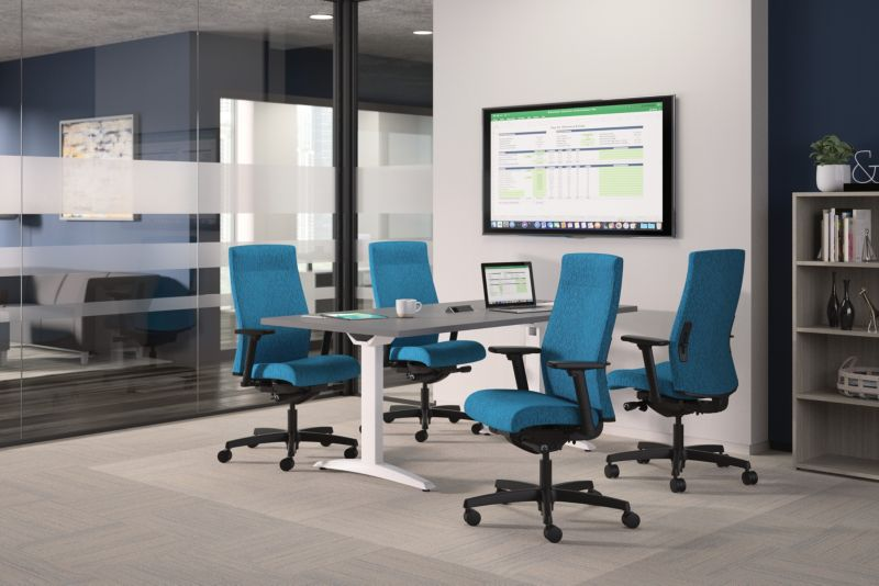 Ignition upholstered blue conference chairs