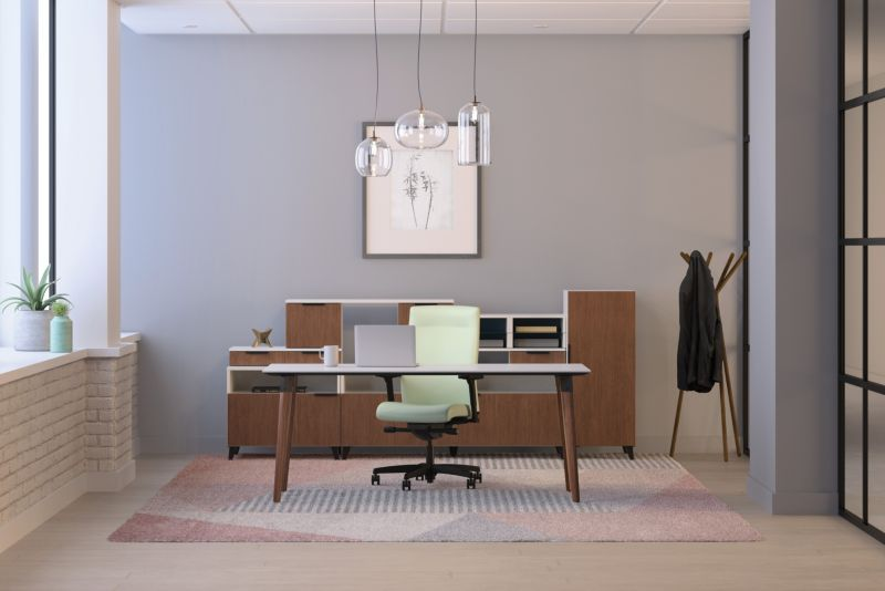 Ignition upholstered chair in a private office with Voi desk