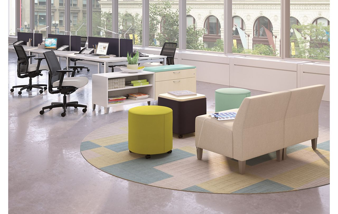 Room scene with furniture - Ignition Task Chair, Flock Modular Chair, Mini Cylinder and Square, Contain Credenza, Empower desks