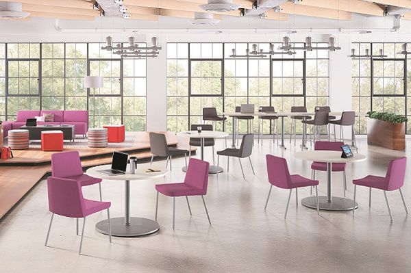 Room scene with furniture - Arrange square and rectangle table, X and T-base, Flock cube table, mini cylinder and cube, modular and guest chair, square ottoman, 4-leg stool, floor lamp/shade