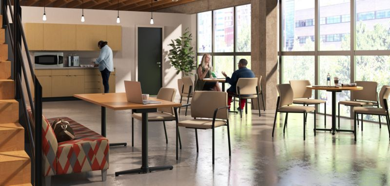 Room scene with furniture - Accommodate Guest Chairs, Flock Modular Chair, Hospitality Cabinets, Countertops, Wall Storage, Arrange Round and Rectangle Café Table Tops