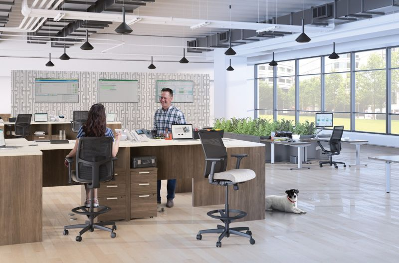 Room scene with two people, a dog on the floor, furniture -  Ignition Stool, Coordinate 3-Leg Table, Corner Cove Worksurface, 10500 Series Standing Height Desking and Pedestal