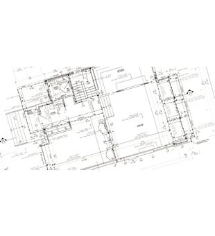 Black and white blueprint architectual drawing