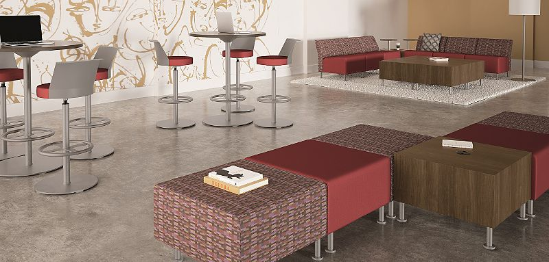 "Room scene with furniture - Flock Modular Chair, Square Ottoman, Perching Stool, 36"" Round, Collaborative, and Cube Tables"