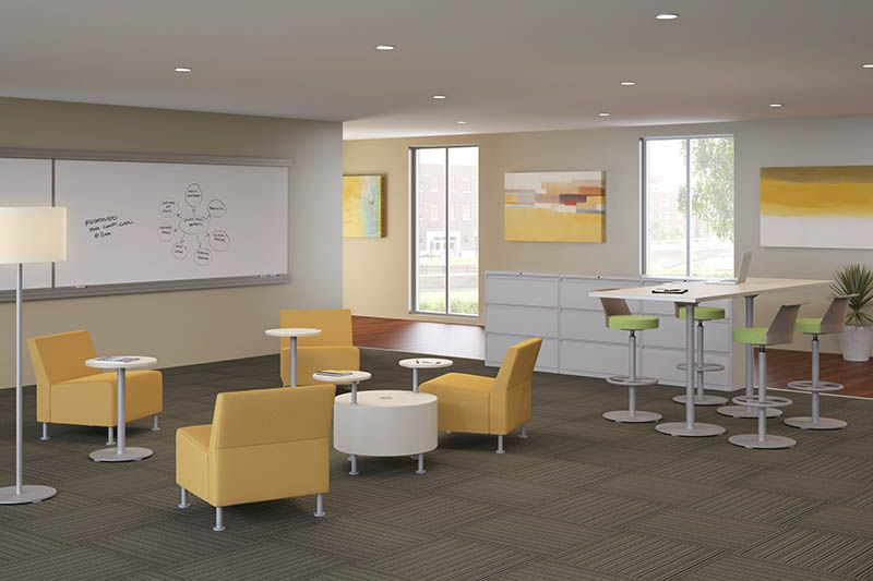 Room scene with furniture - Flock Modular Chair, Cylinder and Personal Table, Table Accessory,  Stool, Smartlink Wall Rail System