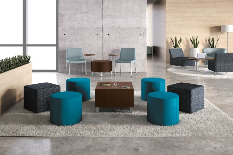 Room scene with furniture - Flock Mini Cube and Cylinder, Cylinder, Cube, and Racetrack Tables, Tablet Arm, Round and Modular Lounge Chairs