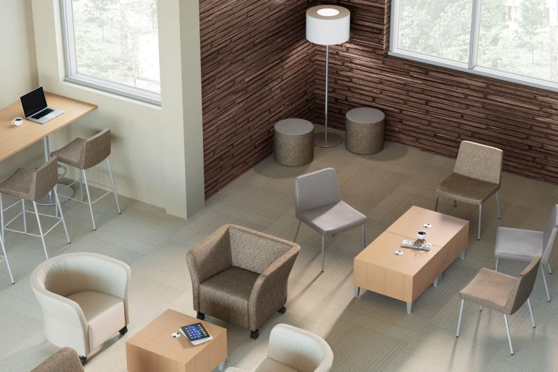 Room scene with furniture - Flock Mini Cube and Cylinder, Guest, Round Lounge and Square Seating, Stool, Square Table and Rectangle Table Top, Lamp and Shade