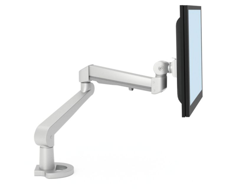 One monitor arm with screen attached on white background