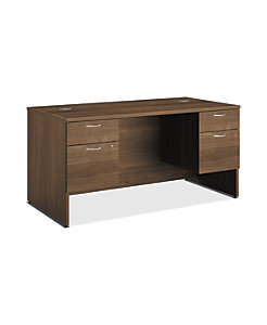 HON 101Series Double Pedestal Desk Pinnacle Color Front Side View HLL3060DP.PINC