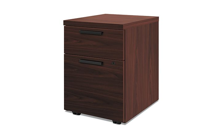 HON 10500Series Mobile Pedestal Mahogany Front Side View H105106.NN