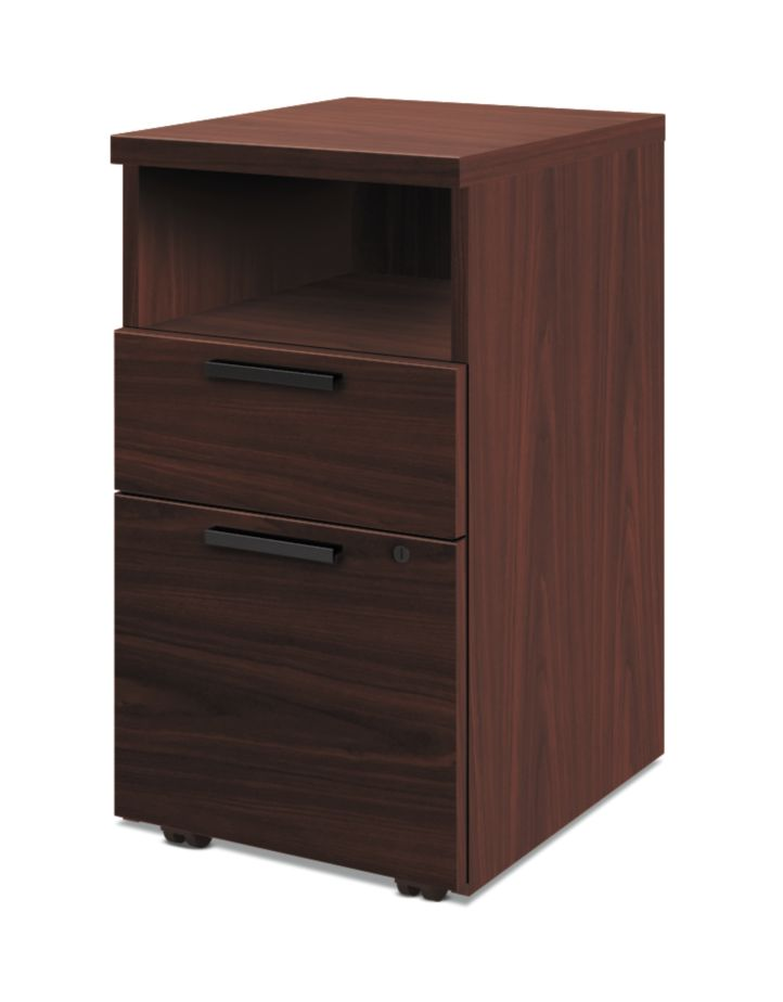 HON 10500Series Mobile Pedestal Mahogany Front Side View H105109.NN