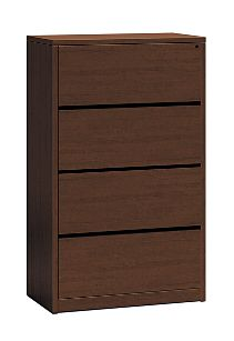 HON 10500Series 4-Drawer Lateral File Shaker Cherry Front Side View H10516.FF