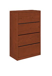 HON 10500Series 4-Drawer Lateral File Brown Front Side View H10516.JJ
