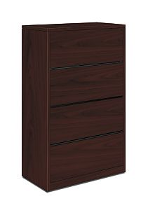 HON 10500Series 4-Drawer Lateral File Mahogany Front Side View H10516.NN