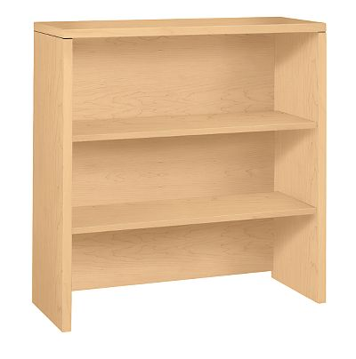 HON 10500Series 2-Shelf Bookcase Hutch Natural Maple Front Side View H105292.DD