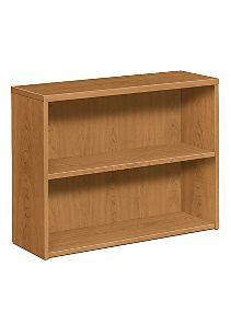 HON 10500 Series 2-Shelf Bookcase Harvest Front Side View H105532.CC
