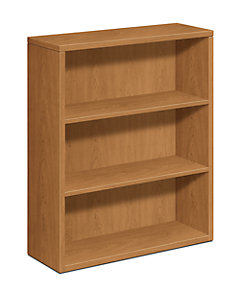 HON 10500 Series 3-Shelf Bookcase Harvest Front Side View H105533.CC