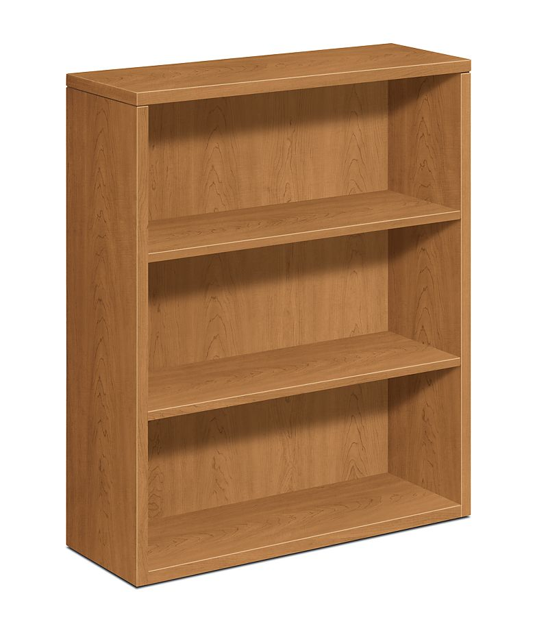 HON 10500 Series 3-Shelf Bookcase Harvest Front Side View H105533.CC