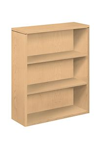 HON 10500 Series 3-Shelf Bookcase Natural Maple Front Side View H105533.DD