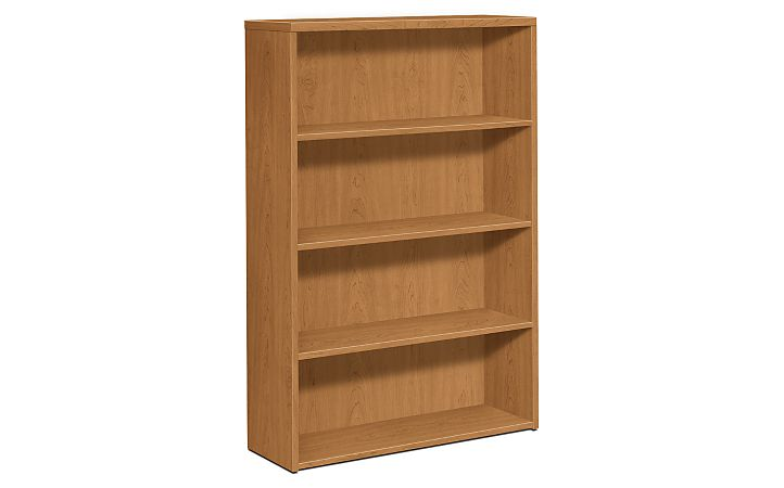 HOn 10500 Series 4-Shelf Bookcase Harvest Front Side View H105534.CC