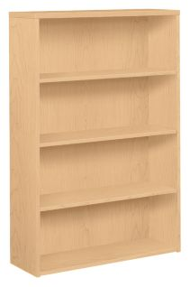 HOn 10500 Series 4-Shelf Bookcase Natural Maple Front Side View H105534.DD
