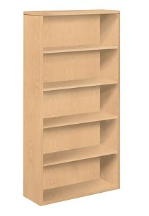 HON 10500 Series 5-Shelf Bookcase Natural Maple Front Side View H105535.DD