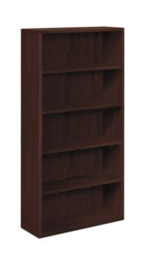 HON 10500 Series 5-Shelf Bookcase Mahogany Front Side View H105535.NN