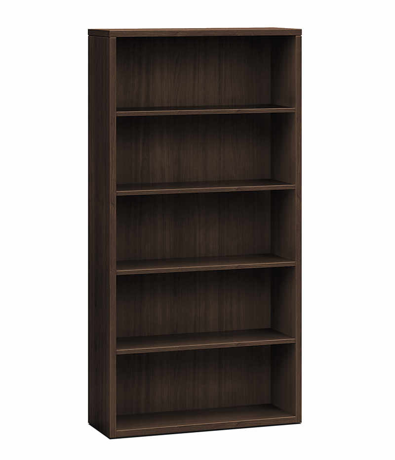 hon series 5shelf bookcase dark brown front side view h105535zz