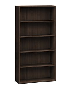 HON 10500 Series 5-Shelf Bookcase Dark Brown Front Side View H105535.ZZ