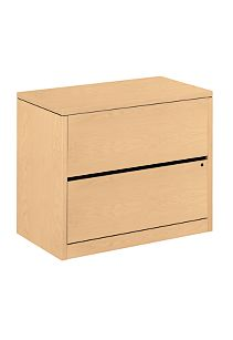 HON 10500 Series 2-Drawer Lateral File Natural Maple Front Side View H10563.DD