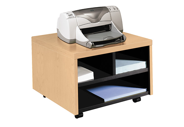 hon series mobile printer cart natural maple front side view h105679dd - Printer Cart