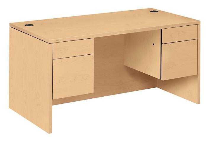 HON 10500 Series Double Pedestal Desk Natural Maple Front Side View H10573.DD