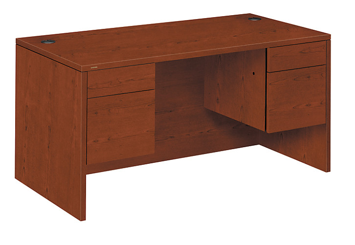 HON 10500 Series Double Pedestal Desk Brown Front Side View H10573.JJ