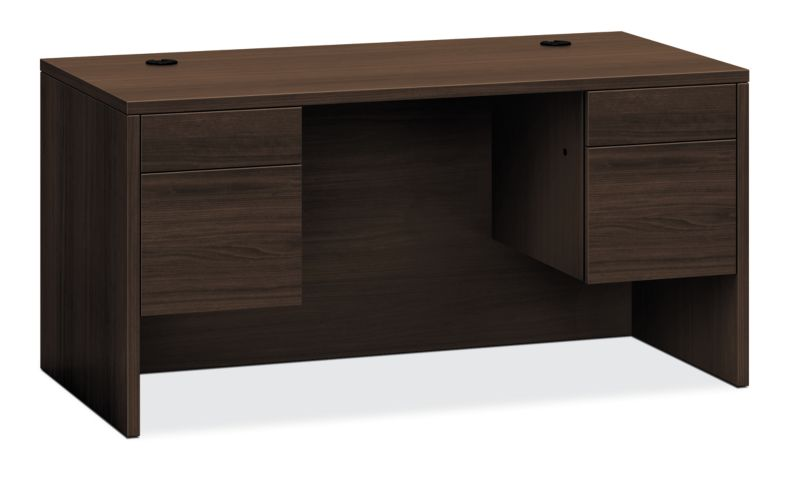HON 10500 Series Double Pedestal Desk Dark Brown Front Side View H10573.ZZ