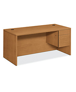 HON 10500 Series Right Pedestal Desk Harvest Front Side View H10583R.CC