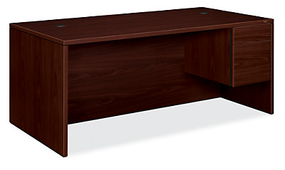 HON 10500Series Right Pedestal Desk Mahogany Front Side View H10585R.NN