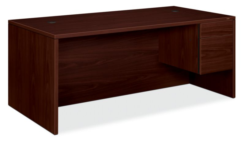 HON 10500Series Right Pedestal Desk Mahogany Front Side View H10585R.NN